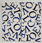 4 Ceramic Coasters in Emma Bridgewater Love Indigo